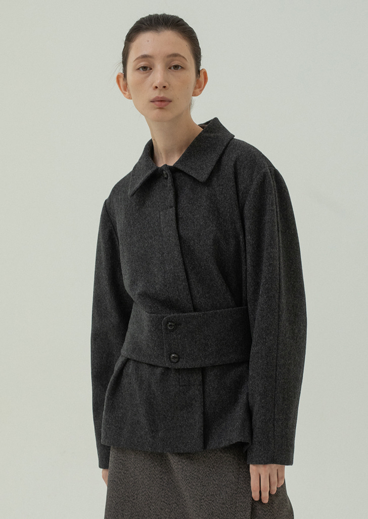 Wide Belted Wool Jacket - Darkgray