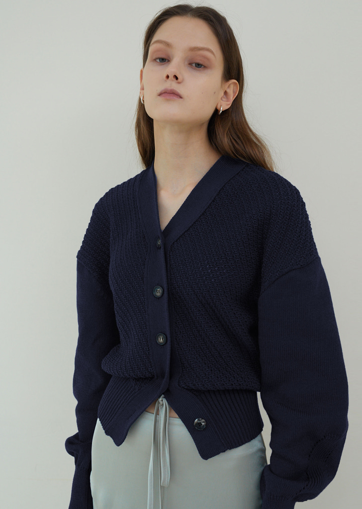Balloon Sleeve Button Cardigan - Deep Navy