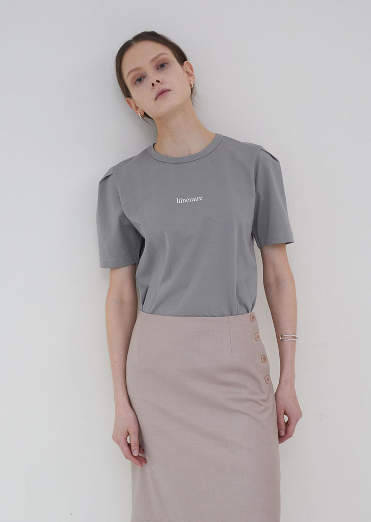 Volume Tuck T Shirts  - Gray