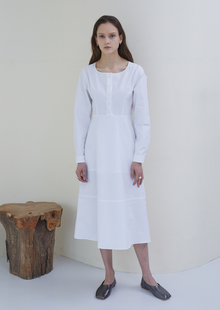Round Neck Shirt Dress - Cream White