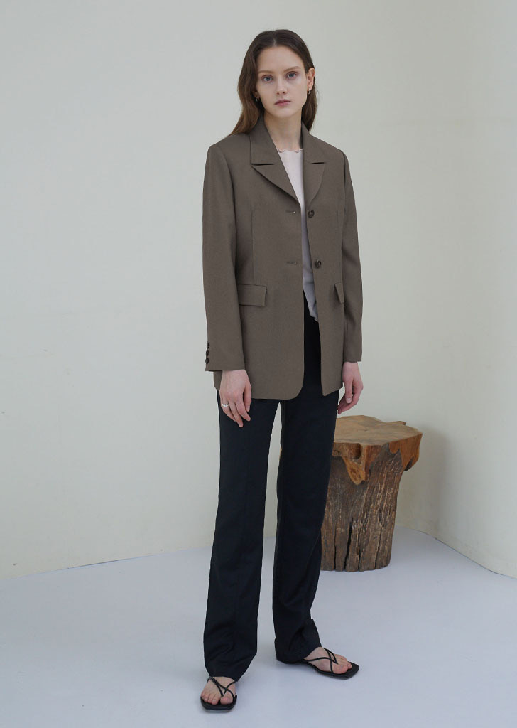 Two Button Line Jacket - Ash Brown