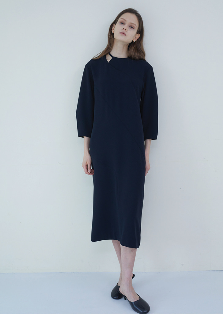 Ribbon Tie Dress - Deep Navy