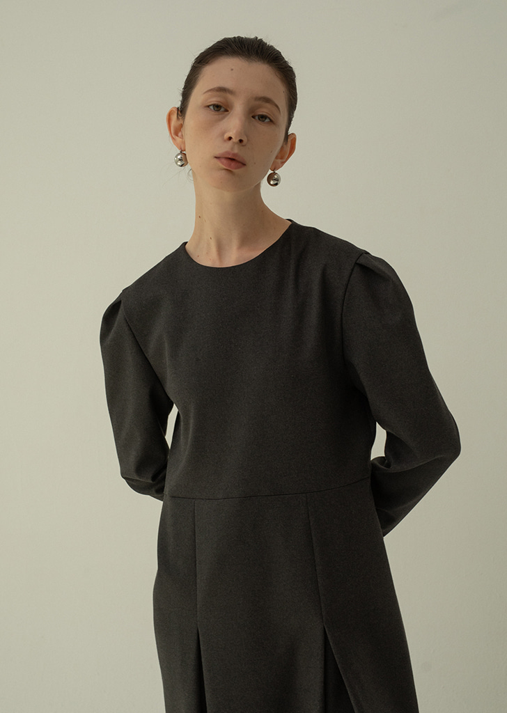Two Pleated Dress - Darkgray