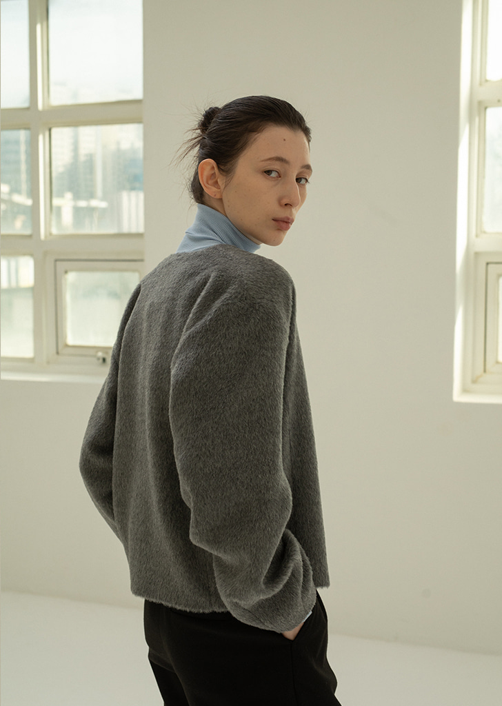 [3차Re-stock] Alpaca Wool Cardigan - Gray