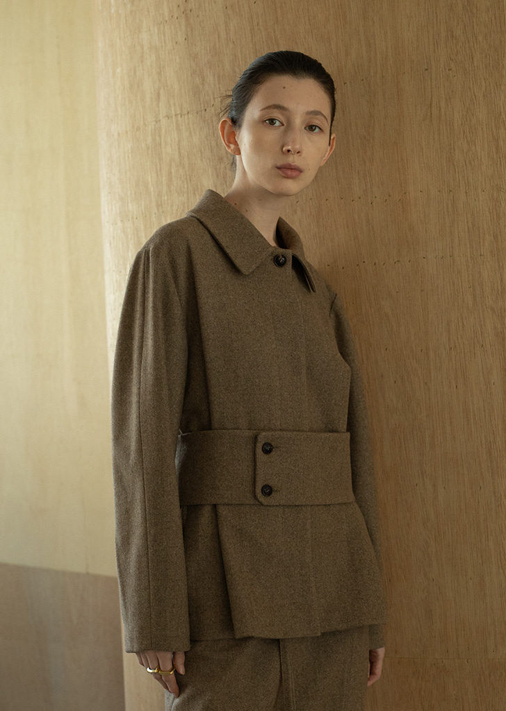 Wide Belted Wool Jacket - Brown