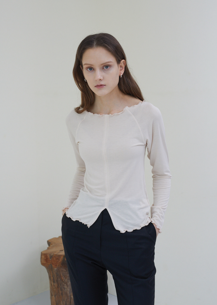 Boat Neck Slit T Shirts - Butter Beige