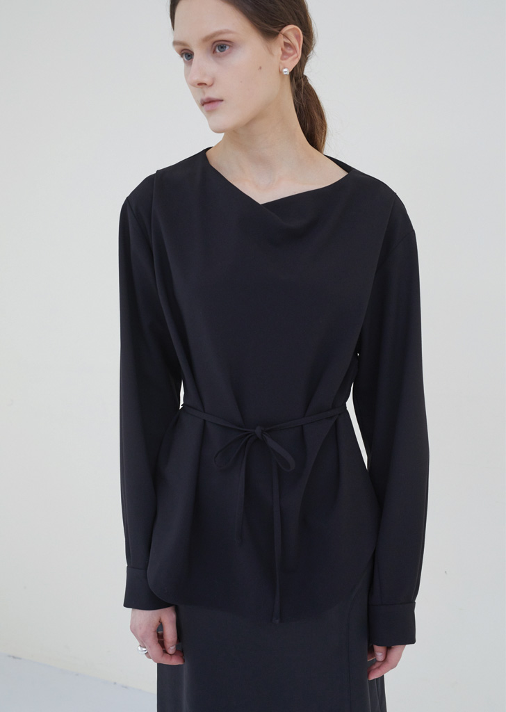 Drape Belt Tie Blouse - Black