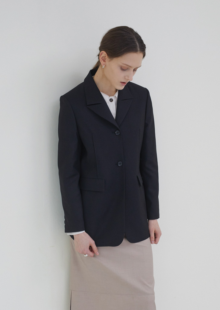 Two Button Line Jacket - Black