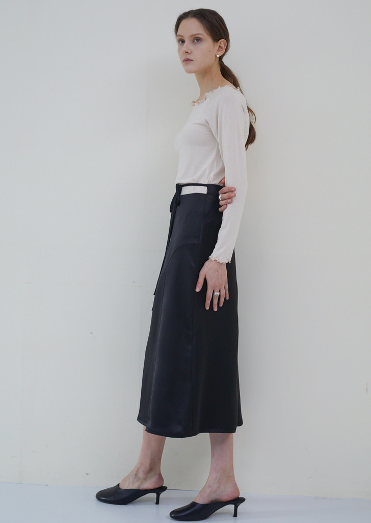 String Satin Skirt - Black