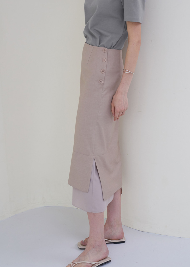 H Line Button Skirt - Beige