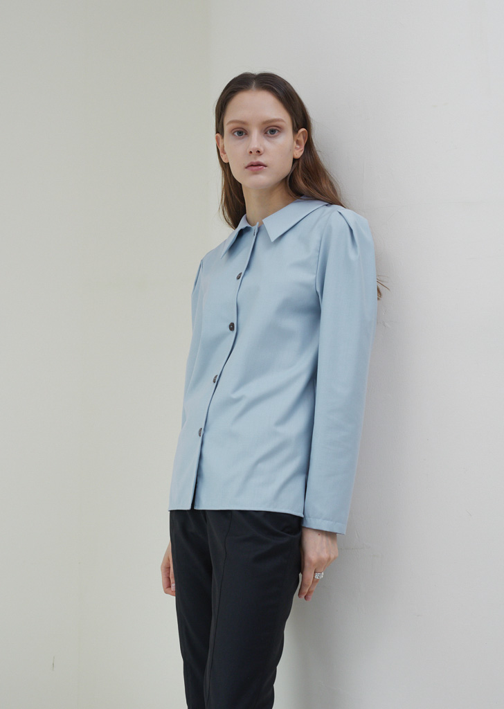Puff Sleeve Button Blouse - Light Blue