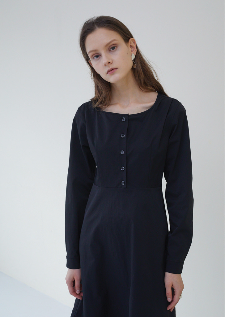 Round Neck Shirt Dress - Black