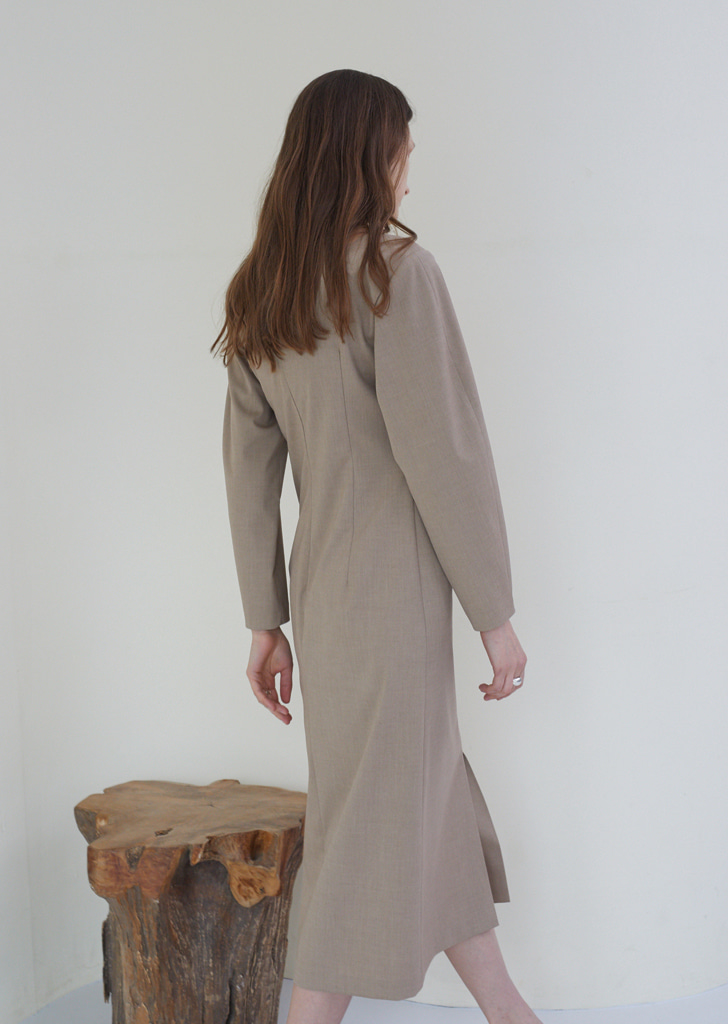 Wrinkle Waist Dress - Light Brown