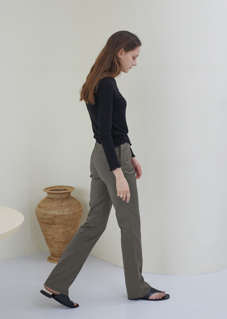 Slim Fit Stitch Trousers - Gray Brown